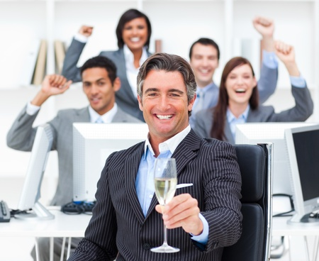 excited business woman: Triumphant manager and his team drinking champagne
