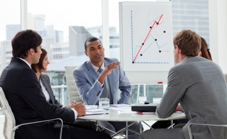 Groupe d'entreprises positives ayant une réunion Banque d'images