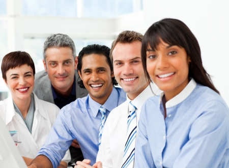 Portrait of ambitious business team at work Stock Photo - 10246372