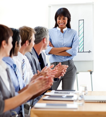International business people clapping a good presentation  photo