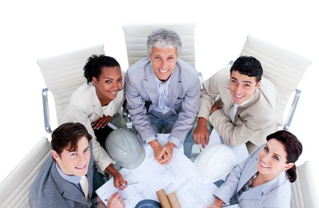 Cute multi-ethnic business team having a meeting photo