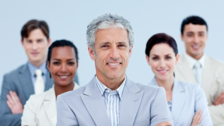 ethnic diversity: Smiling business team showing ethnic diversity