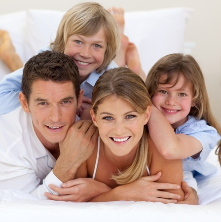 Happy family having fun together photo