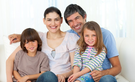 family living: Portrait of a happy family  Stock Photo