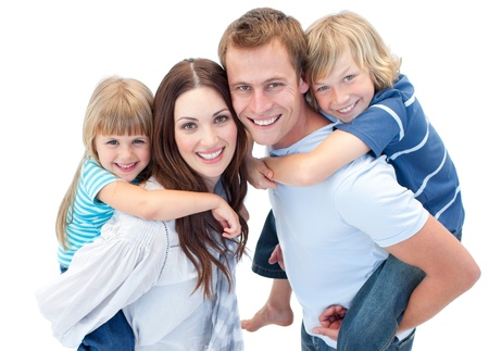 child's: Happy parent giving piggyback to their childs
