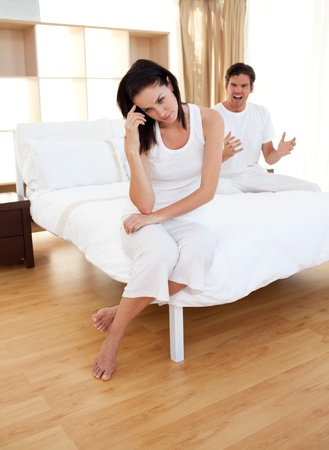 difficulties: Couple having an argument in bedroom