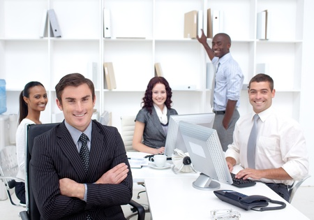 Business people working in office photo