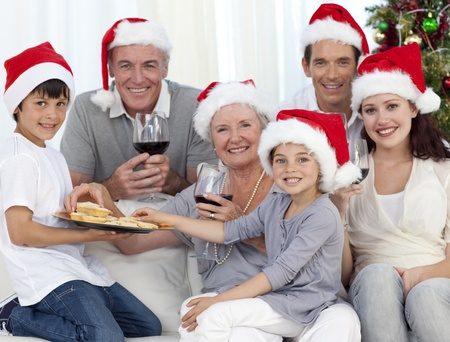 Family drinking wine and eating sweets in Christmas Stock Photo - 10247669