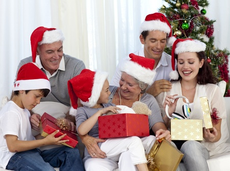 Family opening Christmas presents at home Stock Photo - 10248667