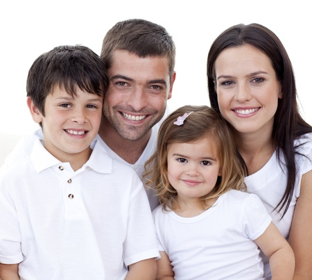 Portrait of happy family smiling Stock Photo - 10250137