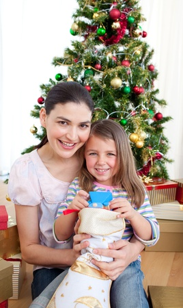 Mother and daughter at home at Christmas time Stock Photo - 10248557