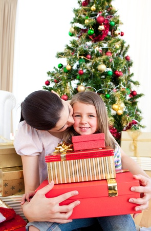 Mother and daughter at home at Christmas Stock Photo - 10248795