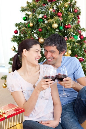 Lovers drinking wine at homa at Christmas time Stock Photo - 10250043