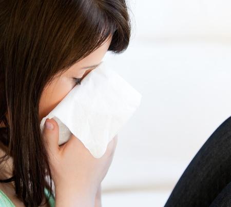 diseased: Diseased female teenager with tissues