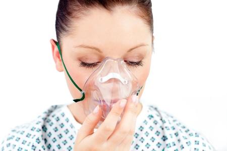 diseased: Diseased caucasian  woman wearing a mask