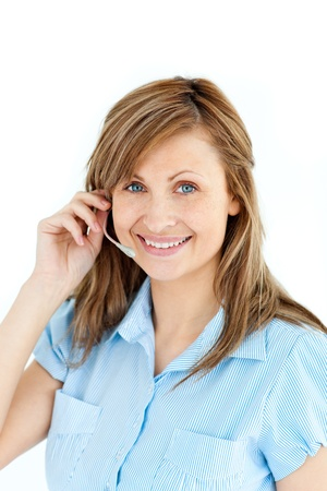 Self-assured businesswoman with headphones photo