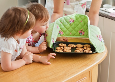 Smiling woman baking with her daughters Stock Photo - 10250495