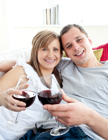 Loving young couple drinking wine sitting on a sofa Stock Photo - 10247651