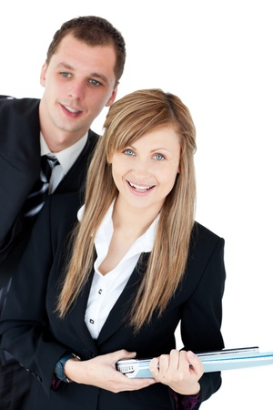 Cute business woman holding documents with her husband photo