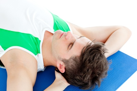 Caucasian young man doing fitness Stock Photo - 10249822