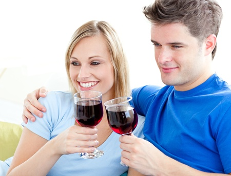 Affectionate couple drinking wine sitting on a sofa in the living-room Stock Photo - 10246856