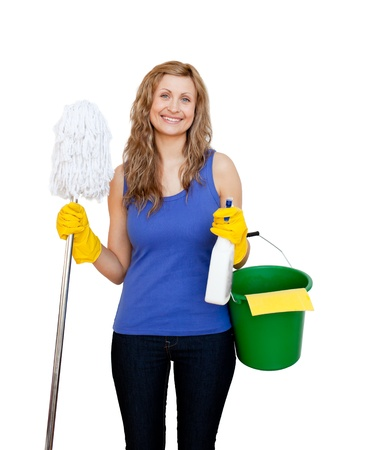 Charming young woman holding a mop photo