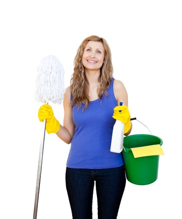 Beautiful young woman holding a mop photo