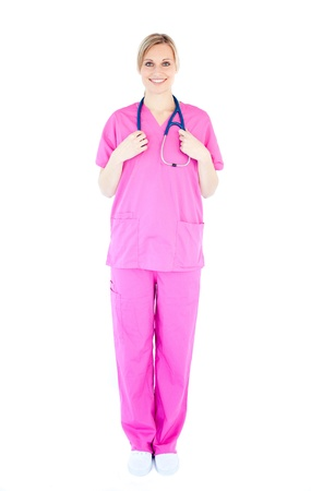 Confident young female surgeon holding a stethoscope photo