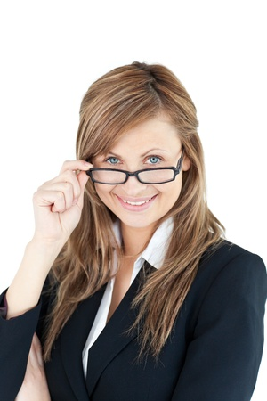 Portrait of a self-assured businesswoman wearing glasses Stock Photo - 10249860