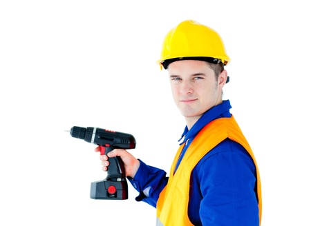 Assertive male worker holding a tool looking at the camera Stock Photo - 10250050