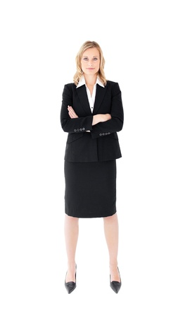 assertive: Assertive businesswoman looking at the camera