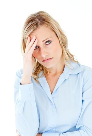 mujer decepcionada: Empresaria del C�ucaso con un dolor de cabeza mirando a la c�mara  Foto de archivo
