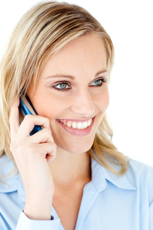 Delighted businesswoman talking on phone  Stock Photo - 10248544