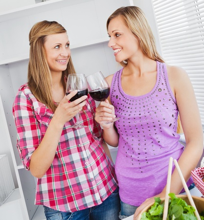 Smiling female friends drinking wine in the kitchen  photo