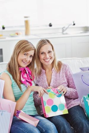 Beautiful women with shopping bags  photo