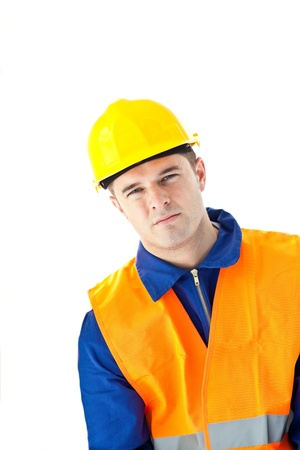 building safety: Depressed worker looking at the camera Stock Photo