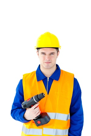 Assertive worker holding a cordless screwdriver Stock Photo - 10241042