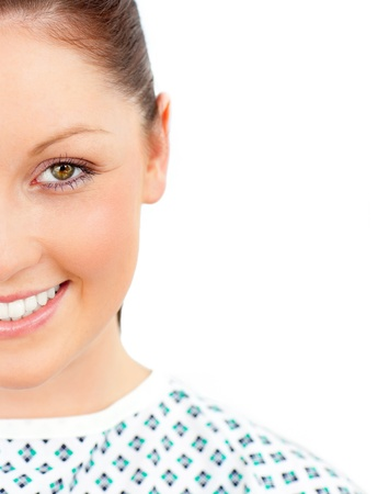 Close-up of a smiling female patient looking at the camera photo