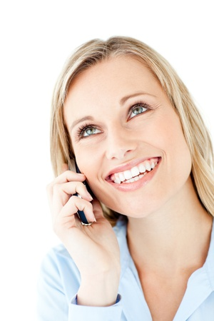 answering the phone: Radiant young businesswoman talking on phone