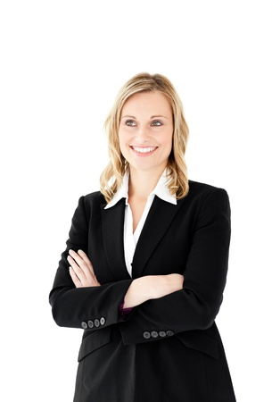 Attractive businesswoman with folded arms isolated photo