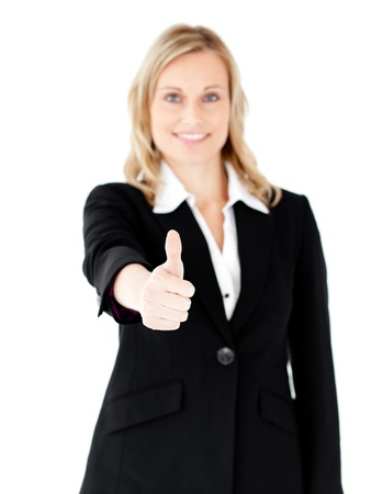 Positive caucasian businesswoman with thumb up photo