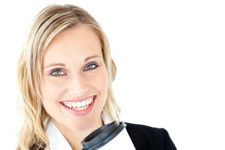 Cheerful businesswoman holding a cup of coffee photo