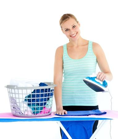 ironing board: Cute woman ironing