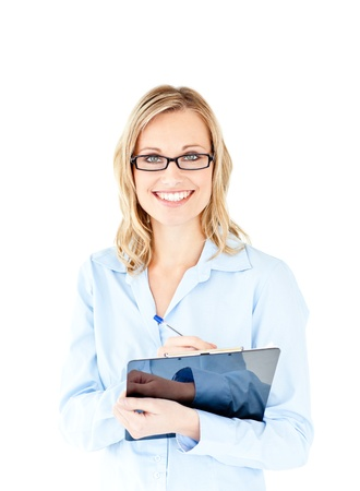 delighted: Confident businesswoman holding a clipboard