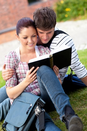 Serious couple of students reading a book sitting on grass photo