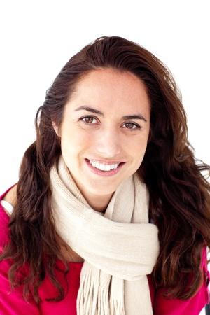 captivating: Joyful woman wearing a scarf smiling at the camera