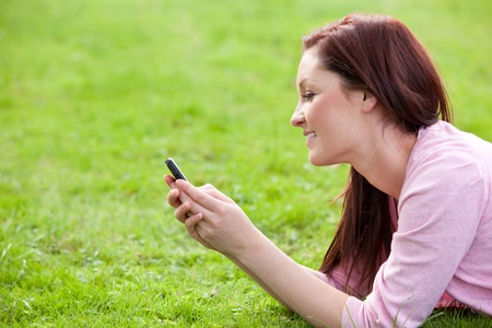 Delighted young woman writing a message on her phone sitting on the grass photo