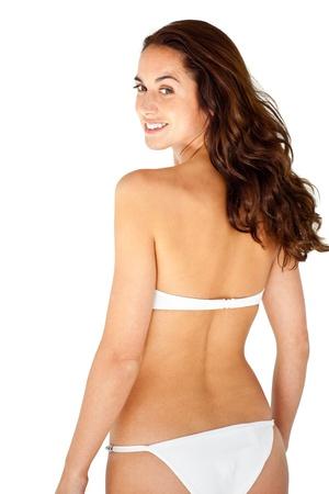 personas de espalda: Bikini vistiendo atractiva mujer hispana Foto de archivo