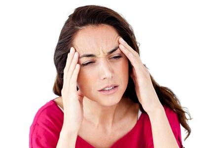 Downcast hispanic woman having a headache photo