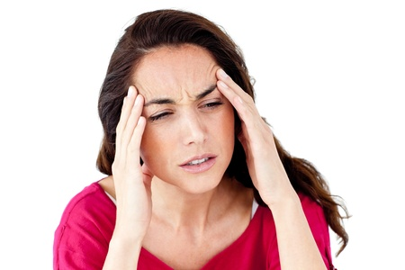 Downcast hispanic woman having a headache photo